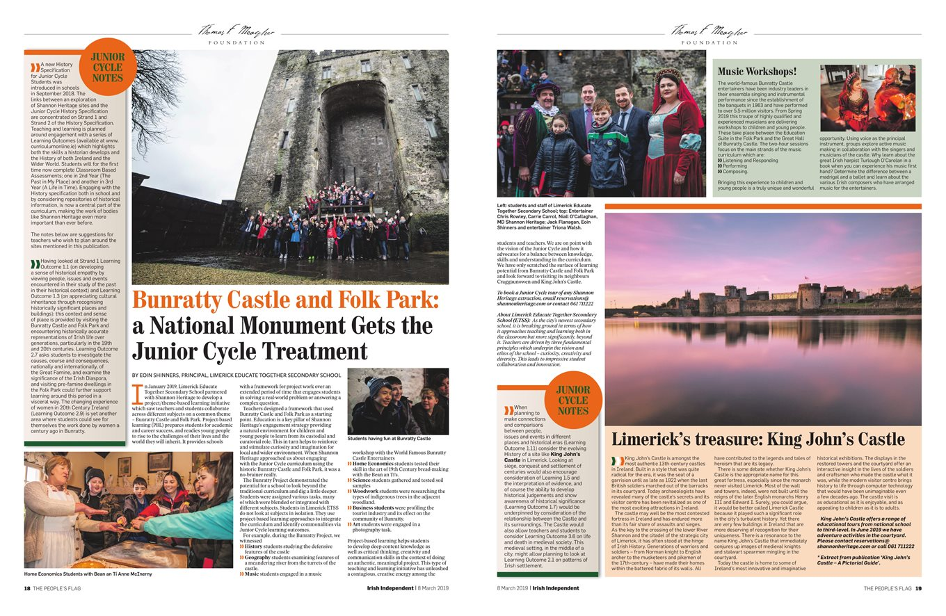 Junior Cycle History Feature in the Irish Independent